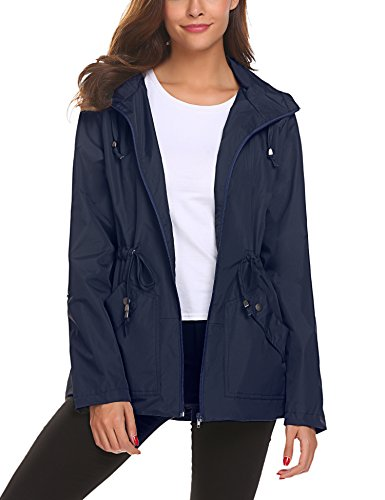 Gabardina con Abrigo Azul Resistente de Impermeable Lluvia Capucha para Lomon Ligera al Viento Mujer Chaqueta 0pn1Pf