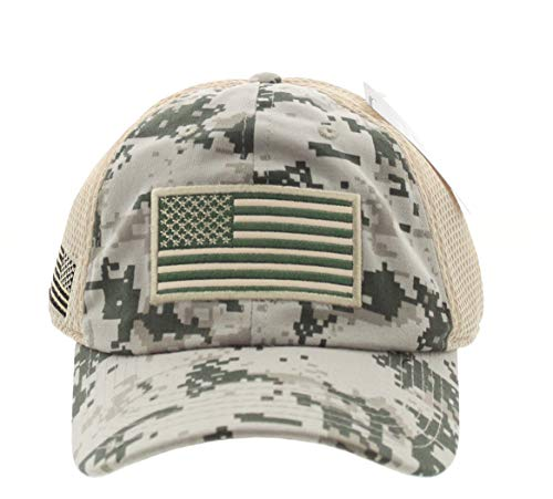 JFH American USA Flag Mesh Tactical Cap Military Embroidered Forward Flag (088 D CAMO)