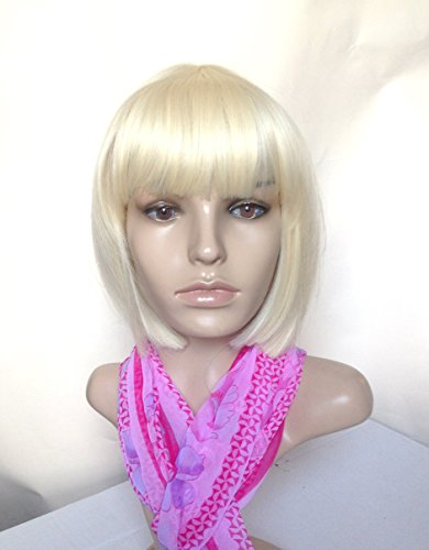 Natural Wig Heat Friendly Synthetic Hair Bob Style Light Bleach Platinum Blonde Sexy for Regular Wear or Cosplay (BONUS: 2 Wig Caps Provided) (Best Professional Bleach For Platinum Blonde)