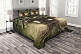 Lunarable Mystic Bedspread Set Queen Size, Fantasy Tree House in The Mysterious Forest Windows and Smoke Chimney Image, Decorative Quilted 3 Piece Coverlet Set with 2 Pillow Shams, Dark Taupe Green