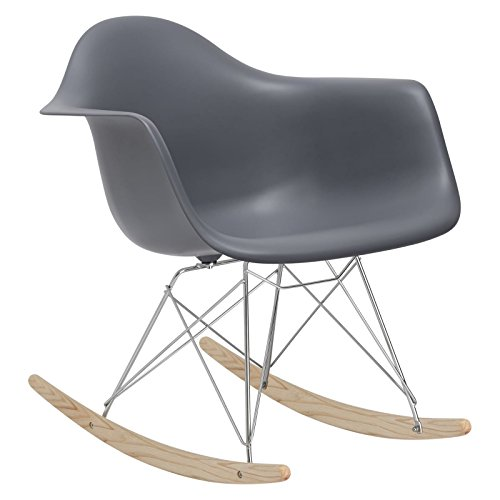 Poly and Bark Rocker Lounge Chair, Grey (Chair Ghost Grey)