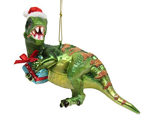 December Diamonds Blown Glass Ornament - Dinosaur with Gift -
