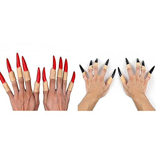 Halloween Witch Long Fake Nails, Zombie Vampire Ghost Devil Finger Nails, Party Decorations, High Quality Halloween Props, Best Halloween Decoration, Set of 2, 20 Pieces - High Quality Halloween Decorations