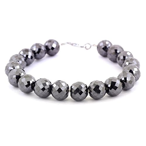 Barishh Black Diamond Bracelet-8 to 9 in.long .240 TCW.CERTIFIED.AAA.12 mm Beads by Barishh