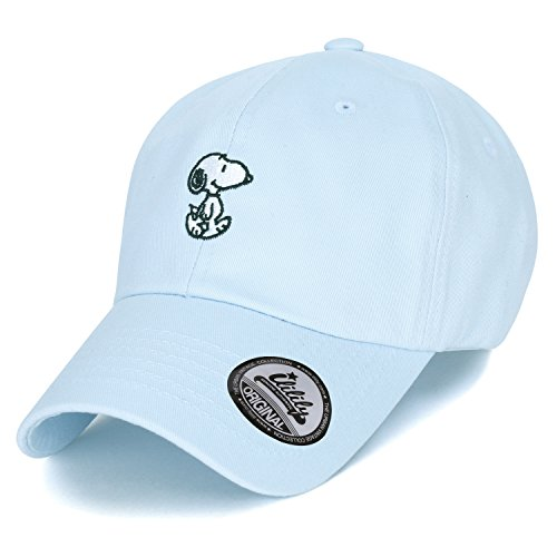 Peanuts Cotton Solid Color Cute Snoopy Embroidery Curved Casual Hat Baseball Cap (ballcap-1330-2) Serenity Blue