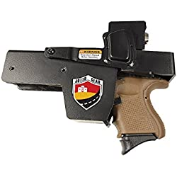 Jotto Gear Quick Access Rugged Steel NRA Locking Handgun Holster for Car, Office, Many Locations