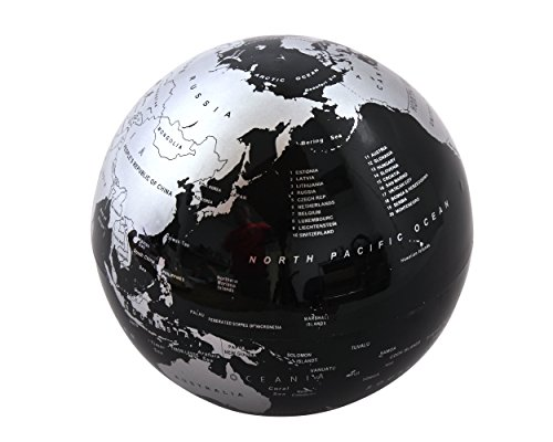 - Self Rotating Globe - Auto Spinning Desk Rotary Globe with Color Changing LED- Revolving Globe - World, Planet Earth Globe Sphere - Home, Office Desktop Decoration - Educational (Black/Silver, 5.5