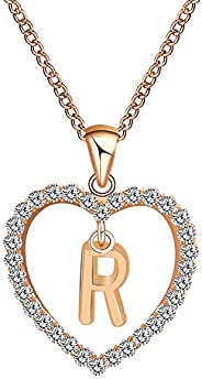 mgirL Women Jewelry Heart Letter Crystal A to Z Rhinestone Eternal Love Necklace Plated Pendent Cubic Zirconia