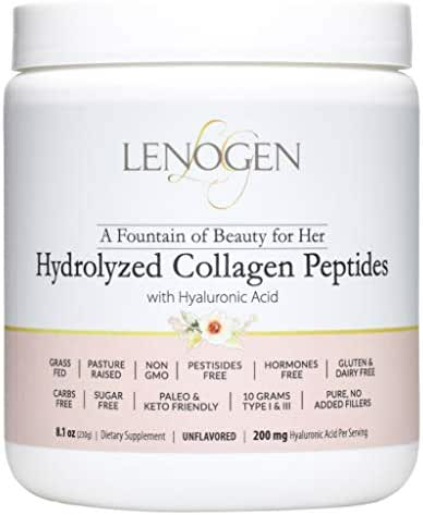 Collagen Powder for Women. Hair Skin & Nails, Grass Fed, Non-GMO, Zero Fillers, Sugar & Carbs Free, Paleo & Keto Diets Friendly, Peptides & Hyaluronic Acid, Unflavored.