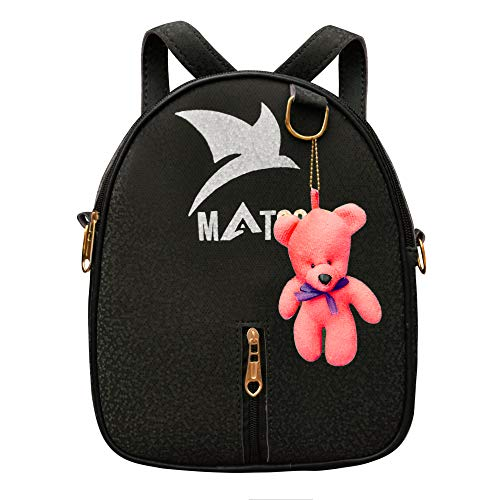 MATSS Black Artificial Leather Small Travel Bag For Women{A12203BK6}