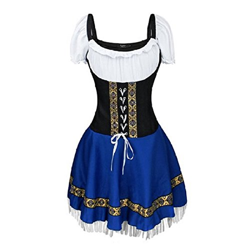 Germany Oktoberfest Costumes (Maid Costume - TOOGOO(R)Women's Germany Oktoberfest Bavarian County Beer Girl Ladies Wench Waitress Serving Maid Bustier Darling Costume Blue Asia)