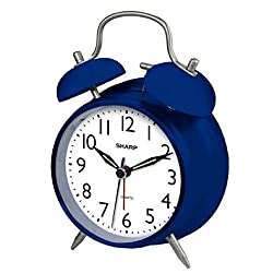 Attractive Classic Style Twinbell Quartz Analog Alarm Clock (Blue)