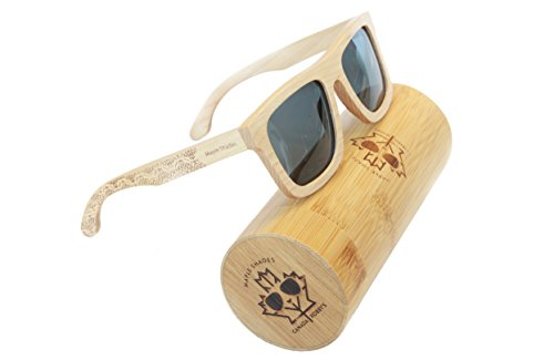 Maple Wooden Sunglasses UV400 Polarized, Rectangle Frame Style, with Bamboo Case - Maple Shades by Canada - Wooden Canada Sunglasses