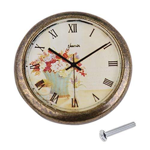 - Classic Clock Door Drawer Bin Pull Knob Closet Wardrobe Handle Flowers#1