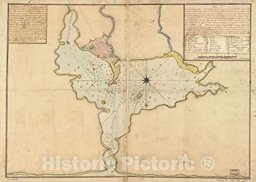 Historic 1794 Map   Plano del pto. de Fuerte Delfin en la Ys. Española de STO. Domingo situado en la latd. de 1940 N. y en longd. de 6620 36in x 24in