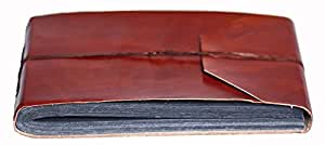 INDIARY Genuine Buffalo Leather Photo Album Scrapbook with Handmade Paper 10x7 Inch - Simple And Noble -G-Blank-Brown