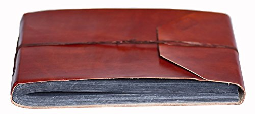Handmade Art Photo Leather Album - INDIARY Genuine Buffalo Leather Photo Album Scrapbook with Handmade Paper 10x7 Inch - Simple and Noble -G-Blank-Brown