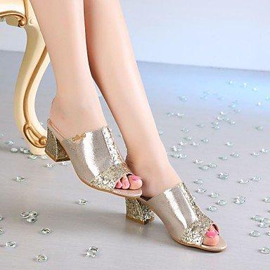 LvYuan Mujer-Tacón Robusto-Gladiador-Sandalias-Vestido Informal Fiesta y Noche-Sintético-Plata Oro Gold