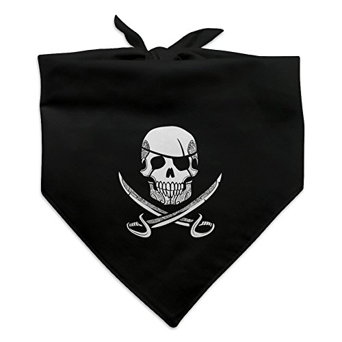Graphics and More Pirate Skull Crossed Swords Tattoo Design Dog Pet Bandana - Black]()
