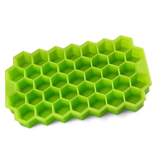 Haoun Silicone Hexagon Ice Cube Tray with Lid - Flexible Rubber,37 Ice Cubes Molds - Green