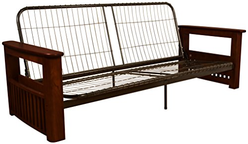 Style Futon Sofa Sleeper Bed Frame, Full-size, Mahogany Arm Finish (Mahogany Futon Frame)