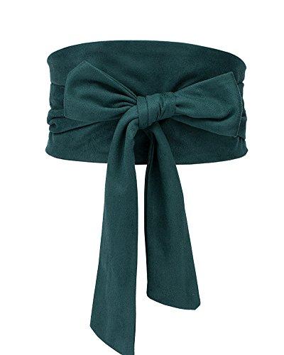 (Aecibzo Women's Bowknot Self Tie Wrap Around Obi Waist Band Cinch Boho Waist Belt (Green))