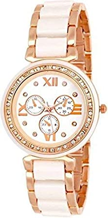 "Capture Fashionâ""¢ Mina-White Rosegold Strap crono Dial with Studded Diamond Watch for Girls & Women"