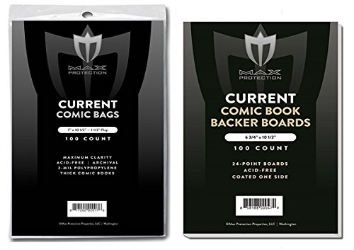 (500) Current Size THICK Ultra Clear Comic Book Bags and Boards - by Max Pro (Qty= 500 Bags and 500 Boards) by Max Protection