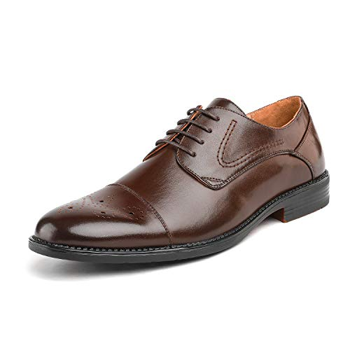 Bruno Marc Men's Halsted-01 Dark Brown Leather Lined Dress Oxfords Shoes - 11 M US
