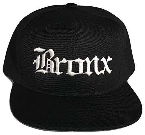 Bronx New York Flat Bill Snapback Baseball Cap (One Size, Black/White)