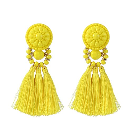 Colorful Beads Thread Ethnic Charms Eardrop Long Tassel Dangle Drop Earrings (Yellow)