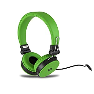 Polaroid PHP8660GR Neon Headphones with Mic, Foldable, Tangle-Proof, Compatible with All Devices, Green