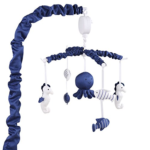 Navy Cross Ribbon - Navy Blue Digital Musical Mobile With Sea Creatures by The Peanut Shell