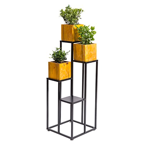 MyGift 40 Inch Large Multilevel Black Metal 4-Tier Planter Stand, Decorative Indoor Shelf Display Rack -