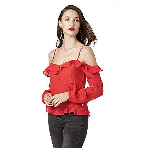Cuff Flutter (Xinantime Halter Top Tee Shirt Women Red Spaghetti Strap Blouse Tops Sexy Ruffle Bell Hem Long Sleve Sweatshirt)