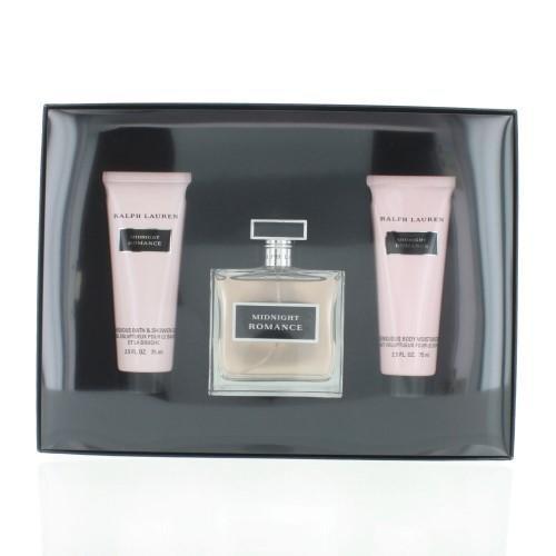 - RALPH LAUREN Midnight Romance By Ralph Lauren 3 Piece Gift Set -3.4 Eau De Parfum Spray, 2.5 Body Lotion, 2.5 Shower Gel
