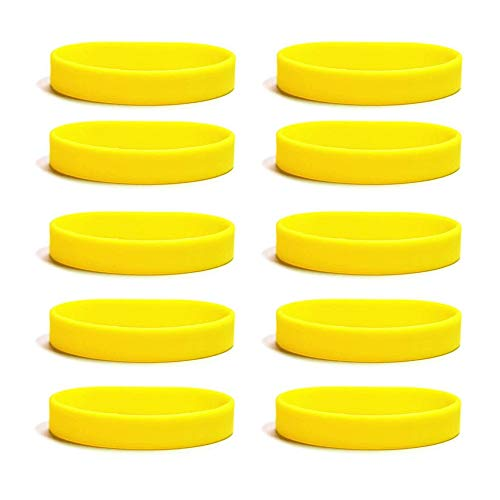 Roskio Blank Silicone Wristbands Rubber Bracelets for Party Favors Sports Accessories Yellow 10 Pcs