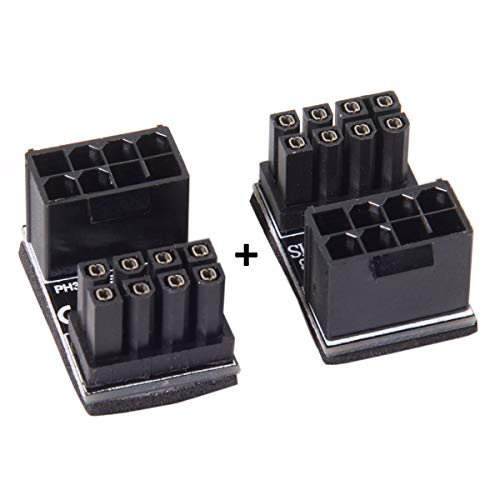 Cablecc ATX 8Pin Female to 8pin Male 180 Degree AngledPower Adapter for Desktops Graphics Card