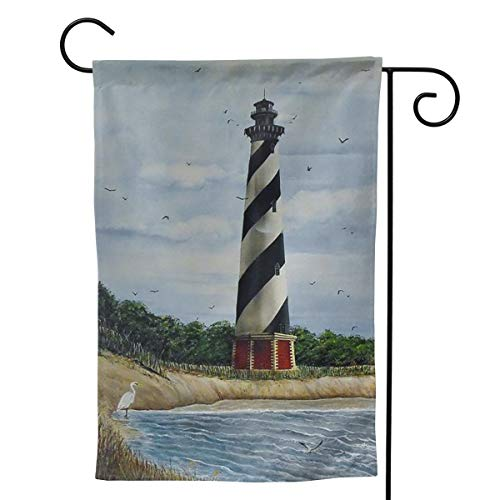 (ANNAHGAD Hatteras Lighthouse Garden Flag Yard Decorations Use 100% Waterproof Polyester Flags)