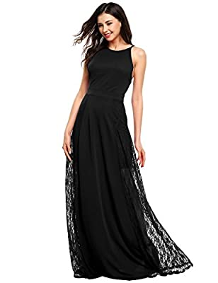ANGVNS Women Floral Lace Wedding Maxi Bridesmaid Formal Evening Long Party Dress