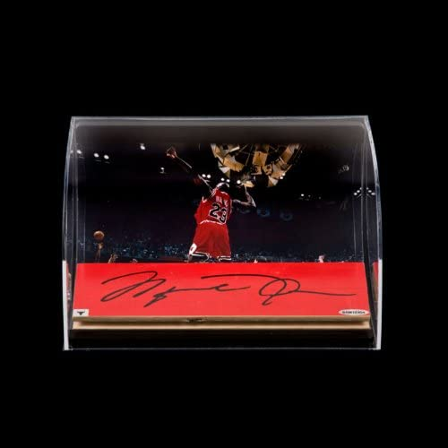 "B00A440Q42 Michael Jordan Autographed Bulls 3x10 Game-Used Floor Piece with ""98 Finals Celebration"" 8x10 in Horizontal Curved Acrylic Display Case 41L1PlBb3IL."