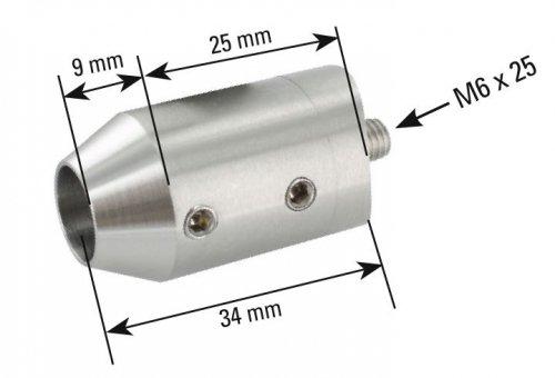 f/ür Stab /ø 12 mm Anschluss flach Querstabhalter /ø 22mm zum Sto/ßen von vorne