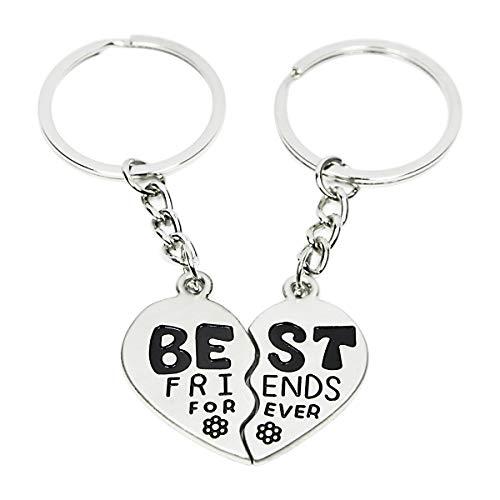 Best Friend Keychains (Best Friend Forever Keychain Love Jewelry Split Heart Key)