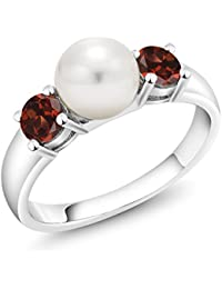 0.80 Ct Round Red Garnet 925 Sterling Silver Freshwater Pearl 3-Stone Women's Ring (Available in size 5, 6, 7, 8, 9)