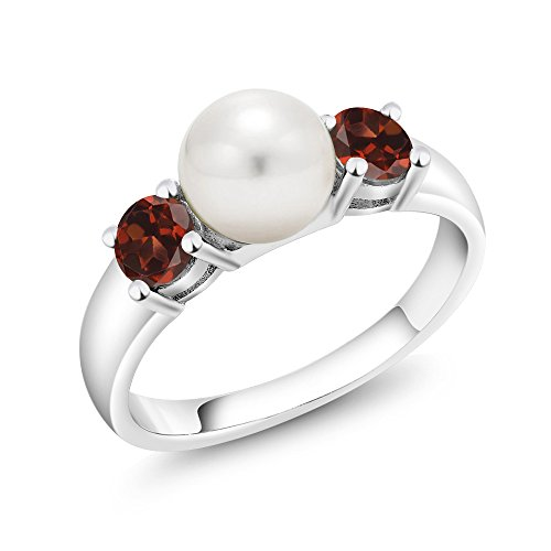 0.80 Ct Round Red Garnet 925 Sterling Silver Freshwater Pearl 3-Stone Women's Ring (Available in size 5, 6, 7, 8, 9) (Garnet Three Stone Ring)