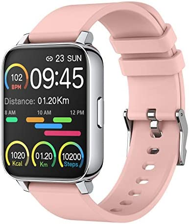 "Smart Watch for Women 1.69"" Touch Screen Fitness Tracker Watch IP68 Waterproof Smartwatch with Heart Rate and Sleep Monitor, Step Counter Sport Running Watch for Android and iOS(Pink)"