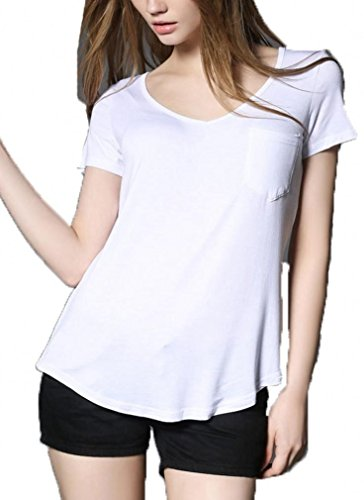 She's Style Women's Modal Short Sleeve Scoop Neck T-Shirt Casual Blouse White (Scoop Neck Tee Shirt)