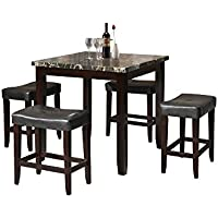 ACME Ainsley Counter Height Set (5 Pack), Black Faux Marble and Espresso