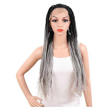 Peluca de pelo largo, liso, color gris, para mujer, pelo de estilo