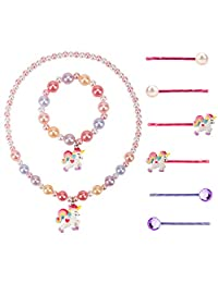 Wenhui's Wisdom Product Girl Jewelry,Children's Girls Unicorn Pearl Necklace Pearl Bracelet Set